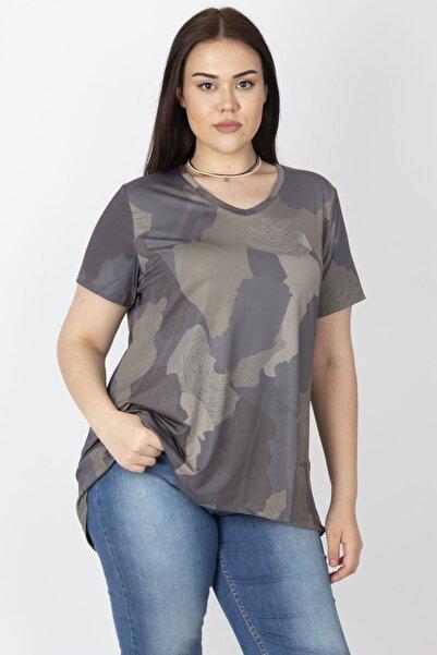 Şans Kadın Haki Arka Robası Tül Oversize Spor Bluz 65N22315