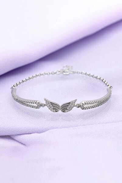 Else Silver Kadın Melek Kanadı Kelepçe Modeli Gümüş Bileklik