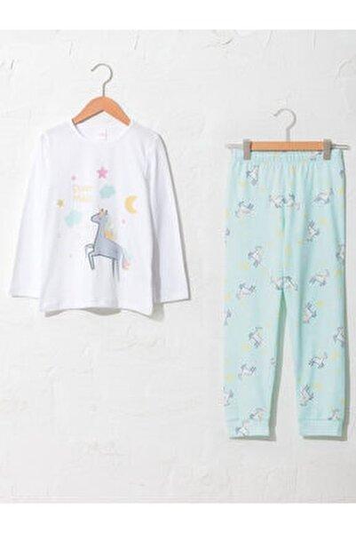 Kız Çocuk Beyaz Desenli Pijama Takımı