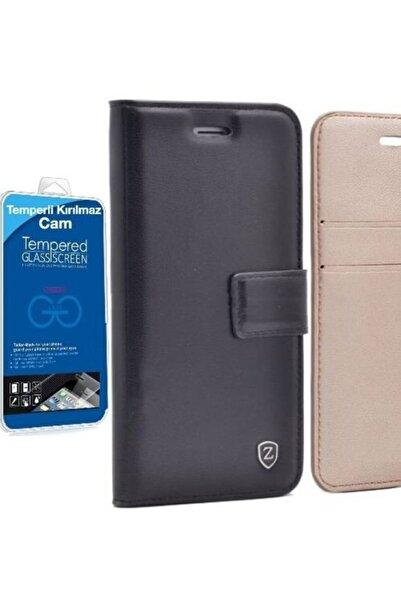 Samsung Teleplus Galaxy J7 2016 Lux Wallet Kılıf Siyah + Glass Screen Protector
