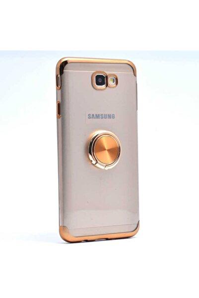 Samsung Teleplus Galaxy J7 Prime Kılıf Laser Rectangle Silicon Gold + Nano Screen Protector