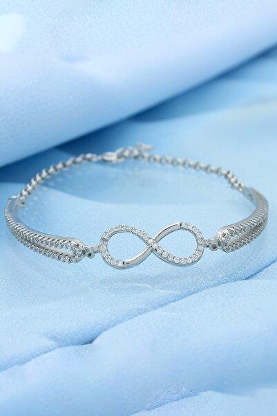 Else Silver Kadın Gümüş Kelepçe Modeli Sonsuzluk Bileklik