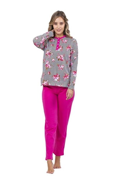 Çift Kaplan 7701 Desenli Pamuklu Bayan Pijama Takım (S-5xl)