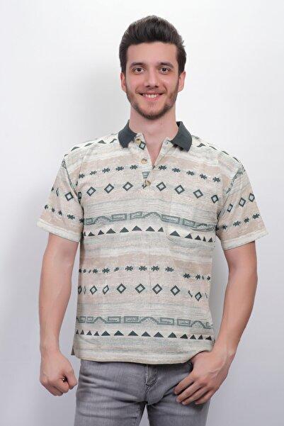 Sude Erkek Yeşil Desenli Keten Polo Yaka T-shirt 1481