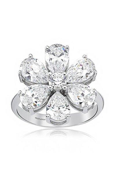Valori Jewels 4 Karat Zirkon Beyaz Damla Taşlı, Unutma Beni Çiçek Gümüş Yüzük