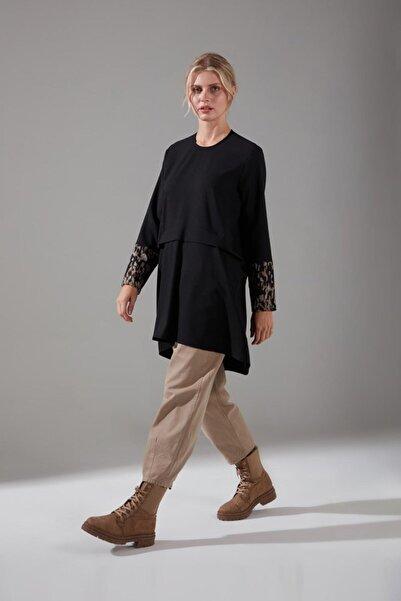 Mizalle Kolları Desenli Bluz (Siyah)