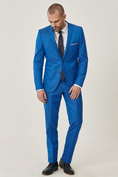 ALTINYILDIZ CLASSICS Erkek Saks Mavi Ekstra Slim Fit Dar Kesim Desenli Saks Su Geçirmez Nano Takım Elbise