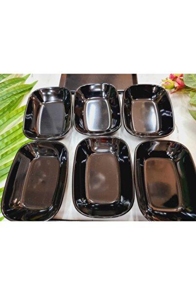 Evren 6 Adet 17cm Siyah Thermo Melamin Kırılmaz Meze-kahvaltı Tabağı