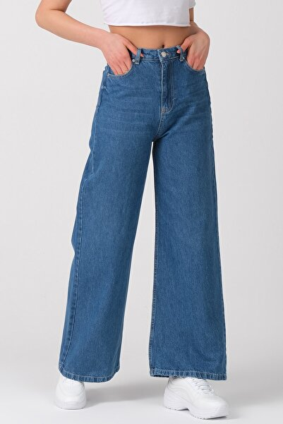 its basic Kadın Mavi Renk Wide Leg Kalıp Bol Paça Jean