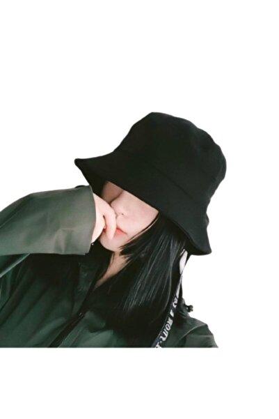 Orçun Özkarlıklı Düz Siyah Kova Şapka Balıkçı Şapka