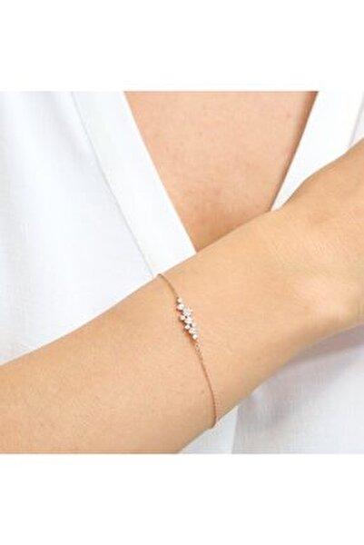 Pırlanta Montür Asimetrik Işıltı Rose Renk Gümüş Bileklik
