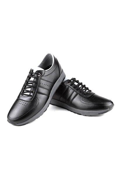 EREN Erkek Siyah Hakiki Deri Günlük Ayakkabı