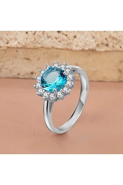Anı Yüzük 925 Ayar Gümüş Çevresi Zirkon Taş Işlemeli Bayan Yüzüğü Mavi Taşlı