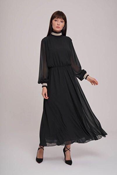 Mizalle Balıkçı Yaka Şifon Elbise (Siyah)
