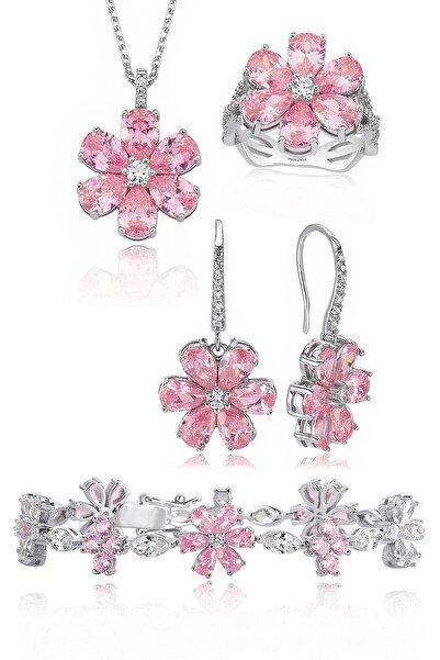 Valori Jewels 20 Karat Zirkon Pembe Ve Beyaz Damla Taşlı, Gümüş Çiçek Set