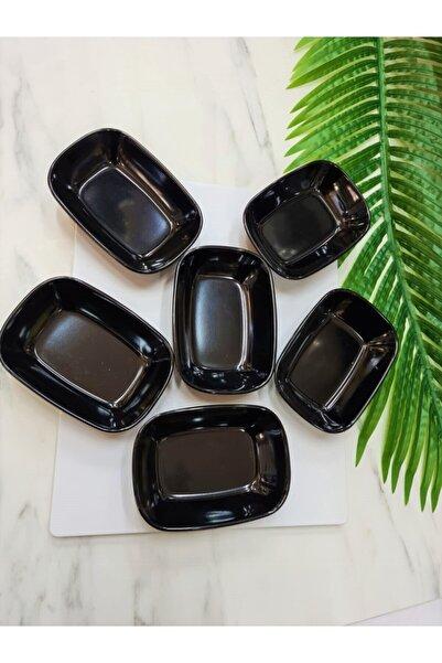 Evren 6 Adet 14cm Siyah Thermo Melamin Kırılmaz Meze-kahvaltı Tabağı