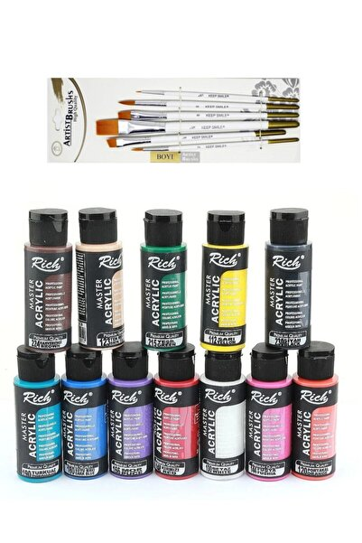 Rich Mastermix Akrilik Boya Seti 12 Renk 60 Cc + Keep Smile Karışık Fırça Seti 6'lı
