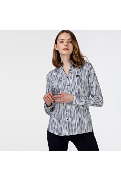 Lacoste Kadın Desenli Lacivert Gömlek CF0121