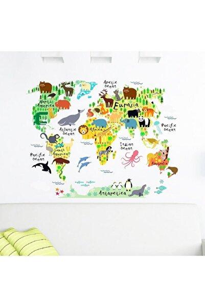 Tilki Dünyası Eğitici Renkli Dünya Haritası , Dünya Atlası Çocuk Ve Bebek Duvar Sticker