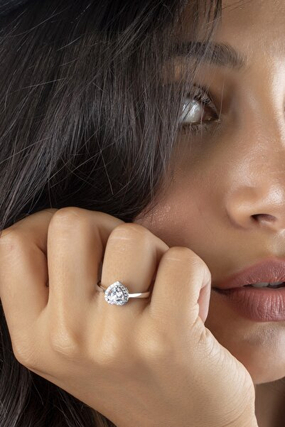 SUNSHINE Zirconia Kalp Taşlı Gümüş Yüzük