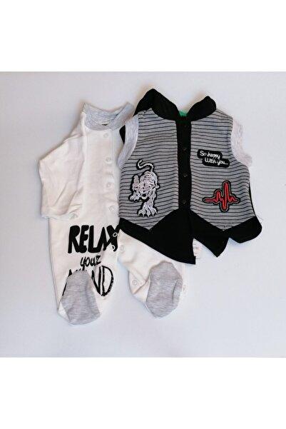 Jikko Rym Erkek Bebek Tulum Ve Kapüşonlu Yelek 3-6-9 Ay