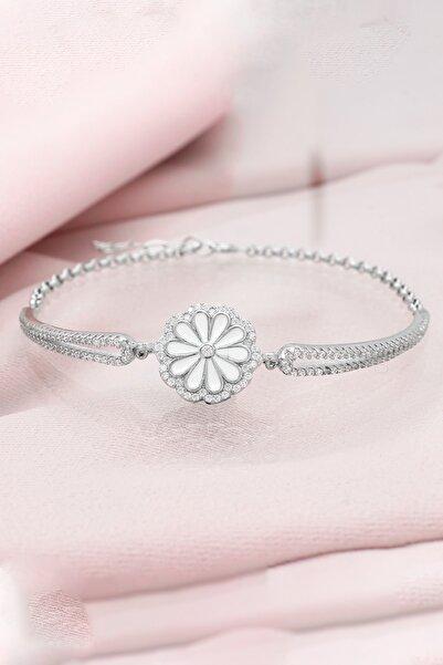Else Silver Kelepçe Modeli Papatya Çiçeği Gümüş Bileklik