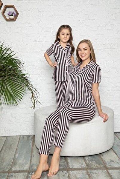 Anne Kız Pembe Siyah Çizgili Desen Pijama Kombinleri (Tek tek sepete eklemeniz gerekmektedir)