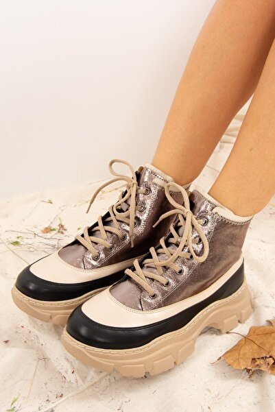 Fox Shoes Kadın Platin Suni Deri Bot J820047009