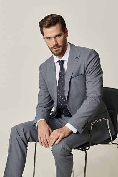 ALTINYILDIZ CLASSICS Erkek Mavi-Gri Slim Fit Pötikare Desenli Yünlü Su Geçirmez Nano Takım Elbise
