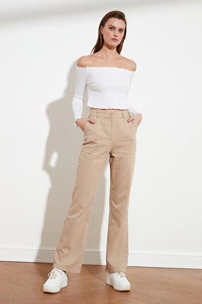 TRENDYOLMİLLA Bej Geniş Paça Pantolon TWOSS21PL0109
