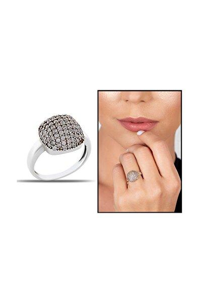 Tesbihane Kadın 925 Ayar Gümüş Zirkon Taşlı Yarım Küre Tasarım Yüzük