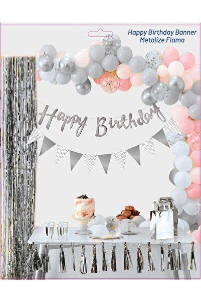 Ekin Süs Gümüş / Happy Birthday Kaligrafi Banner Ve Üçgen Flama Set