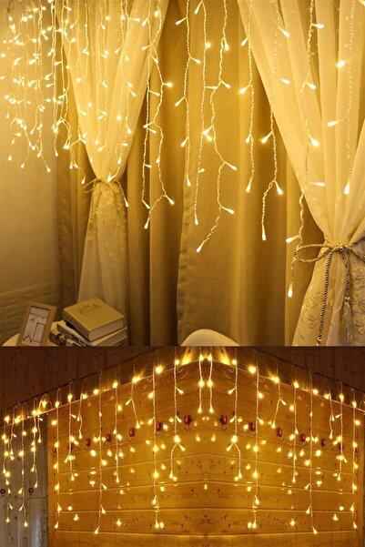 Eksprespazar Dekoratif 16 Saçaklı Sarı Saçak Perde Günışığı Led Işık 4 M 60-70-50 cm