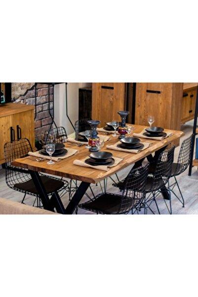 NT Concept Ntconcept Masif Ağaç Yemek Masası Takımı 85cm-125cm