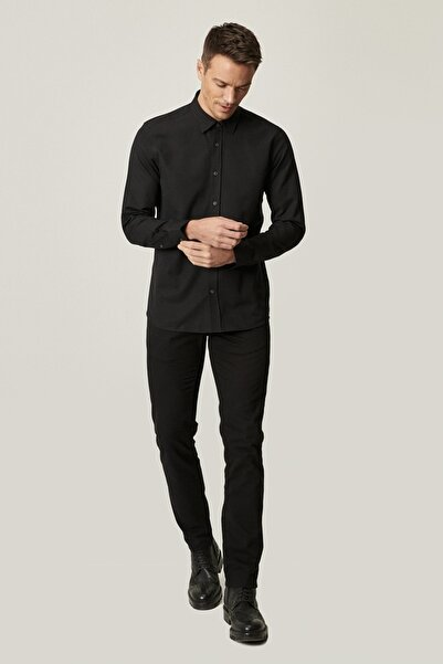 AC&Co / Altınyıldız Classics Erkek Siyah Kanvas Slim Fit Dar Kesim %100 Koton 5 Cep Pantolon