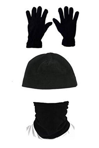 Unisex Siyah 3'lü Set: Polar Bere Boyunluk Eldiven
