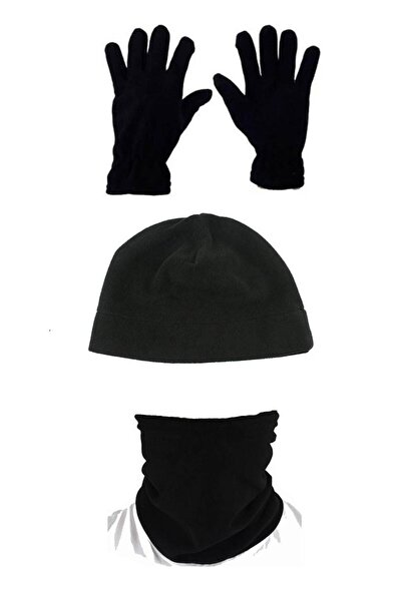Asker Kolisi Unisex Siyah 3'lü Set: Polar Bere Boyunluk Eldiven