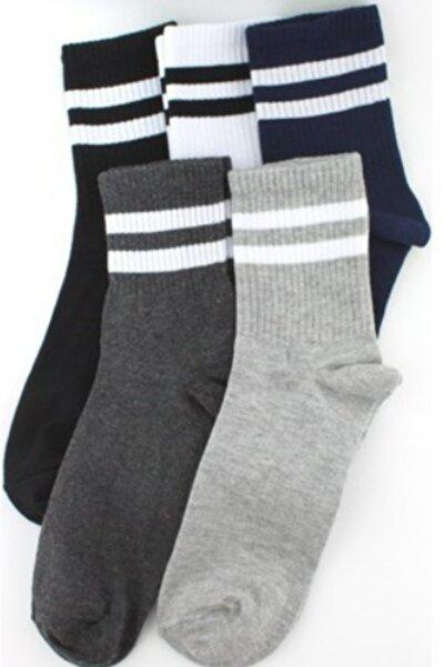 socksbox 5 Çift Tenis Çizgili Soft Çorap/ Koyu Set