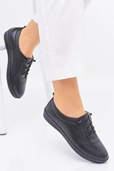 Full Comfort Ve Ortopedik Bayan Siyah Günlük Rahat Lastik Bağcıklı Hava Alabilen Bayan Ayakkabı