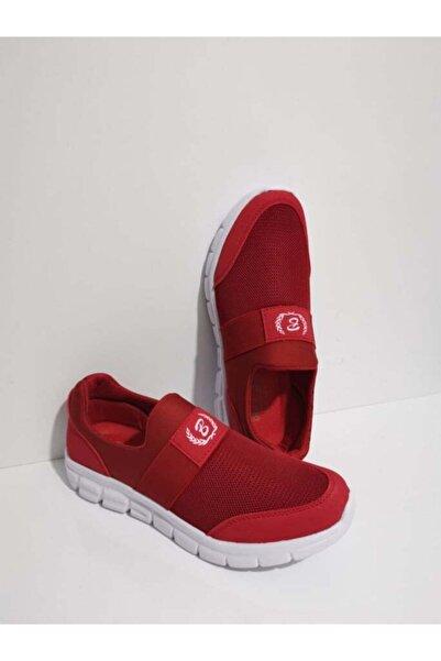 GEZER Lastikli Günlük Kadın Spor Ayakkabı Sneaker Fileli Kırmızı 107