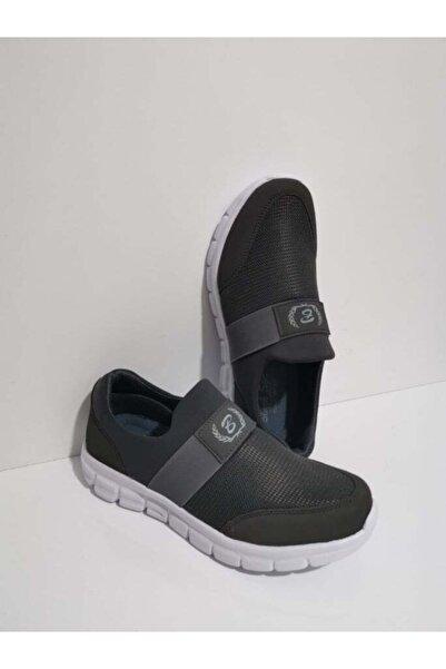 GEZER Ortopedik Aqua Lastikli Günlük Kadın Spor Ayakkabı Sneaker Fileli Gri 107