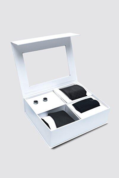 D'S Damat Standart Kravat Mendil Kol Düğmesi Çorap Aksesuar Setleri
