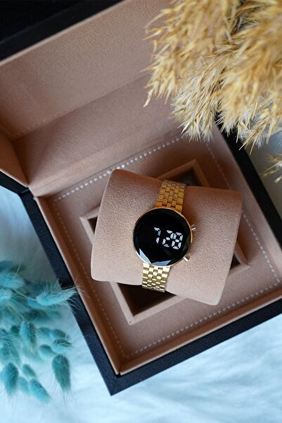 Spectrum Kadın Çelik Gold Kordon Siyah Kasa Dijital Kol Saati
