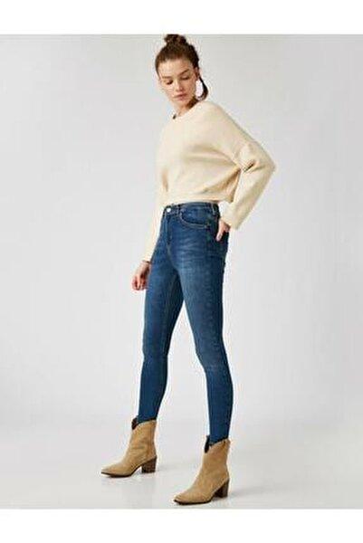 Kadın Mavi Pamuklu Skinny Yüksek Bel Jeans