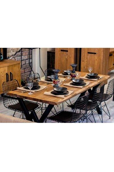 AVVİO Asel Kütük 6 Kişilik Mutfak Masası Takımı-yemek Masası Takımı- Doğal Kütük Ağacı