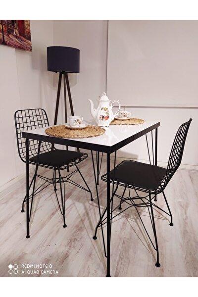 AVVİO Ezgi 2 Kişilik Yemek Masası Takımı-mutfak Masası Takımı-beyaz