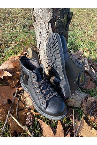 Lento Hakiki Deri Outdoor-trekking Bot Fermuarlı Siyah