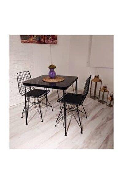 Defne 2 Kişilik Yemek Masası Takımı-mutfak Masası Takımı-siyah Mermer Desenli