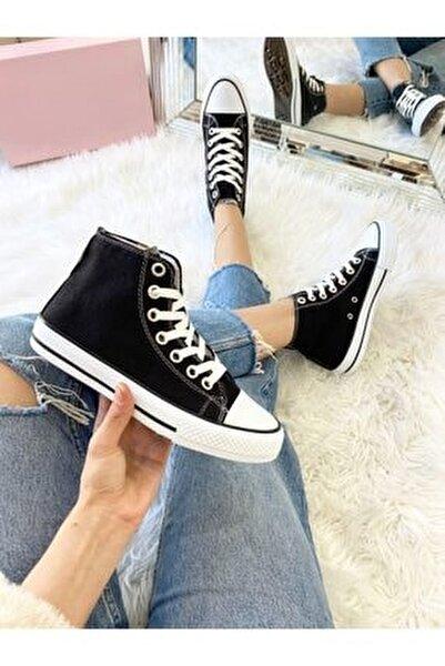 Unısex Bıleklı Sıyah Spor Ayakkabı