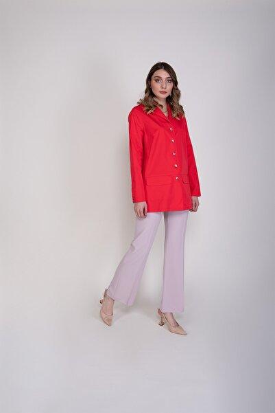 Sembol Kadın Kırmızı Pamuk Astarsız Gömlek Efektli Ceket 4423